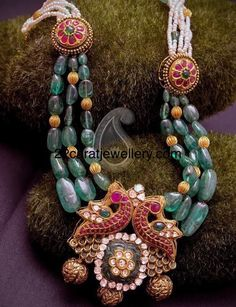 Large Belgium emerald beads drops and 22 carat gold pumpkin shaped round gold balls combination attractive beads long chain with dual peacock pendant Royal Jewelry, Emerald Jewelry, India Jewelry, Silver Jewelry, Silver Ring, Silver Earrings, Gold Necklaces, 925 Silver, Sterling Silver