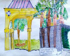 Immokalee seminole casino portico watercolor sketch art journal.visual diary