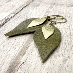 Sepia Tinted Petals  Green Leather Earrings  Brass by Tangleweeds