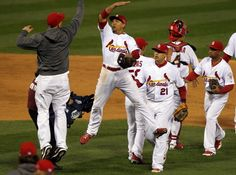 Jon Jay celebrates the Cardinals 8-3 win over the San Francisco Giants at the end of Game 4 of the National League Championship Series between the St. Louis Cardinals and the San Francisco Giants on Thursday, Oct. 18, 2012, at Busch Stadium. Photo By Laurie Skrivan, lskrivan@post-dispatch.com