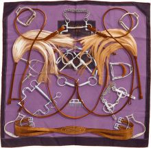 "Luxury Accessories:Accessories, Hermes 90cm Purple & Brown ""Projets Carres,"" by Henri d'Or..."