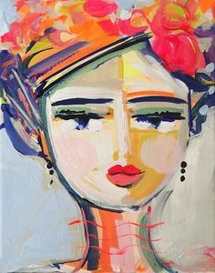 Abstract Portrait PRINT medium woman by Marendevineart Abstract Faces, Abstract Portrait, Painting People, Figure Painting, Arte Pop, Naive Art, Art Studios, Figurative Art, Cute Art