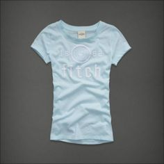 Abercrombie Kids Girls! New Baby Blue Logo Embroidered Slim Fit T-Shirt~Medium #AbercrombieKids #Everyday