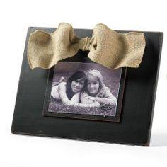 Mud Pie Distressed Wood Frame with Burlap Bow  #WhimsicalUmbrella #HomeDecor #Gift whimsicalumbrella.com