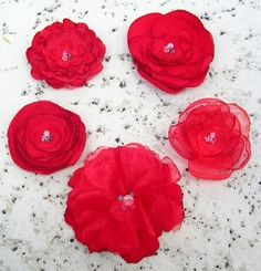 Bridal Hair Flower in Poppy Red by ChiKaPea on Etsy, $13.50