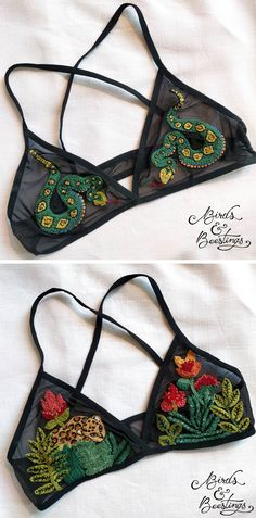 Embroidered bralettes by Birds & Beestings // embroidery // embroidery on clothing
