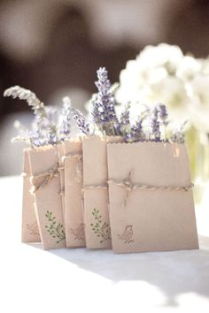 Lavender in take-home mini paper bags are a cute idea for wedding favors if you aren't able to get the viles. A Lowcountry Wedding - Charleston, Myrtle Beach & Hilton Head's Favorite Wedding Resource: Favors {Wedding Details} Purple Wedding, Our Wedding, Dream Wedding, Wedding Lavender, Lavender Bags, Lavender Tea, Lavender Seeds, Lavender Cottage, Lavender Bouquet