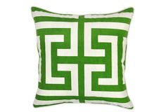 Kelly Green Geometric Pillow | Let's get down to Pillow Talk! We share our newest finds for fabulous Throw Pillows that are fun to add to any room! | Sumptuous Living | http://sumptuousliving.net/pillow-talk-having-fun-with-throw-pillows/