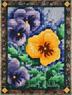 JaneLKakaley.etsy.com    Pansy Mosaic Art Quilt  by Jane L Kakaley