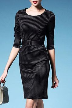 Chic 3/4 Sleeve Striped Scoop Neck Over Hip Dress For Women