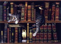 Charles Wysocki Cat in library books art print