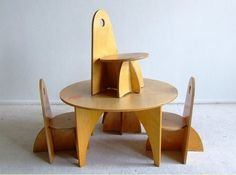 Vintage Dutch designer kids plywood furniture. It collapses! Love to hack this.
