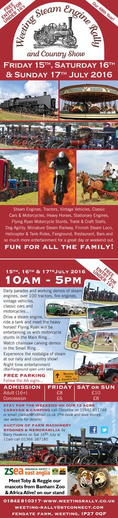 Design and print of DL sized flyer, promoting the 2016 Weeting Steam Engine Rally & Country Show.