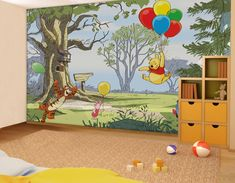 Winnie the Pooh - Up and Away - Wall mural, Wallpaper, Photowall, Home decor, Fototapet, Valokuvatapetit