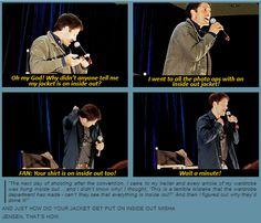 Misha Collins convention panel.  LMABO!! ...Jensen pranked him!