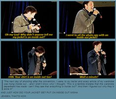 Misha Collins convention panel.  Jensen pranked him! I love how the fans almost got Misha to take his shirt off, and he didn't catch it at first