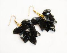 Black Golden Handmade earrings Beaded earrings от MonistoJewelry