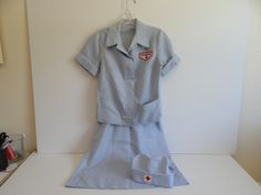1950s Vintage Red Cross Volunteer Two Piece Uniform with Hat - dress - Great costume by SecondWindShop on Etsy