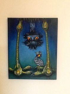 Acrylic Emu painting  PRINT by LJArtHouse on Etsy