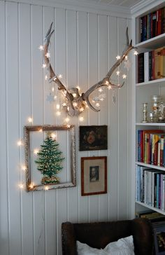 antlers + lights. i want to do this