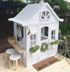Building your little one a playhouse in the backyard will surely make them happy. However, you'll want it to be safe as well as beautiful. There are a few things you should know before you build a playhouse for kids. Kids Cubby Houses, Kids Cubbies, Play Houses, Build A Playhouse, Playhouse Outdoor, Kids Garden Playhouse, Playhouse Decor, Little Girls Playhouse, Painted Playhouse