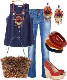 """""""jean casual"""" by outfits-de-moda2 ❤ liked on Polyvore"""