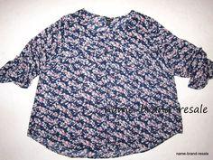 TORRID NWT $44 Womens PLUS 4 4X 26 28 Navy Blue Floral Long Sleeve SHIRT Top NEW #Torrid #Blouse #Casual