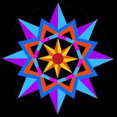 Sun Star Quilt Block paper pieced