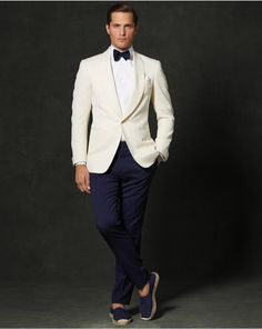 Handsome Ivory And Navy Slim Fit Groom Tuxedos Custom Made Men Business Suit High Quality Two Pieces Wedding Suits Tuxedos Mens Blazers From Newdeve, $69.65| Dhgate.Com