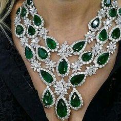 Stunning emerald and diamond necklace. @bijancoinc
