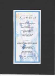 Classic Blue Aquamarine Wedding Program by Above & Beyond – Custom Events &  Stationery