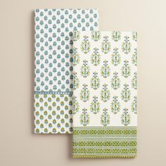 This eclectic duo features a richly patterned combination of aqua blue motifs, edged with a crochet detail and pom-poms and destined to add a global allure to your kitchen. >> Spring Home Decor Printed Napkins, Napkins Set, Kitchen Linens, Kitchen Towels, Beach House Kitchens, Spring Home Decor, World Market, Floral Motif, Apartment Living