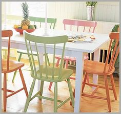 Colorful dining room or kitchen table and chairs. Painted Dining Chairs, Painted Furniture, Cottage Furniture, Painted Chairs, Painted Kitchen Tables, Paint Furniture, Kitchen Table Chairs, Furniture Makeover, Kitchen Paint