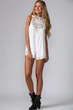 Frills and Lace Playsuit White