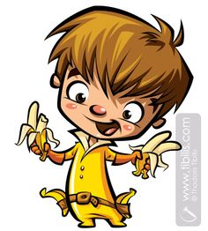 Banana Boy. Cartoon mascot character illustration :) at www.tibilis.com