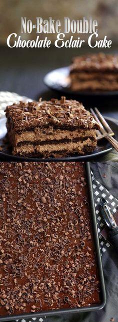 No-Bake Double Chocolate Eclair Cake