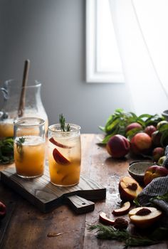 *Fresh Nectarines and honey combine to make a syrup, infused with rosemary, in…