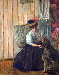 Edouard Vuillard - Portrait of Madame Bonnard with her Dog at Rue Drouai, National Gallery of Victoria, Melbourne. On close up viewing the yellow on the background wall is actually the cardboard ground showing through. Pierre Bonnard, Edouard Vuillard, Van Gogh, Beaux Arts Paris, Maurice Denis, Amor Animal, Avant Garde Artists, Impressionist Artists, Matisse