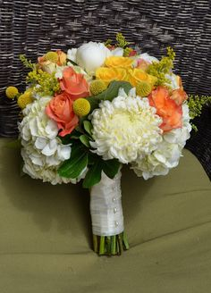 Coral wedding ideas, coral and yellow wedding, Coral bridal bouquet, orange and yellow by Flour and Flower Designs