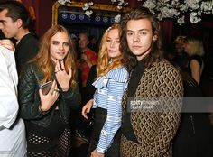 Cara Delevingne, Clara Paget and Harry Styles attend the Love Magazine miu miu London Fashion Week party at Loulou's on September 21, 2015 in London, England.