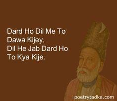 dard ho dil me to dard shyari mirza ghalib in hindi