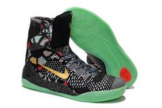 "Nike Kobe 9 IX Elite ""Maestro/All-Star"" Black Gold with Green Glow Men Size High Basketball Sneakers"