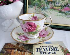 best=Royal Albert American Beauty Cup And Saucer Roses Sponge Gold Sweater Dresses UK Tea Cup Set, Tea Cup Saucer, Tea Sets, English Tea Cups, Tea For One, Rose Cottage, Cottage Style, China Cups And Saucers, Rose Tea