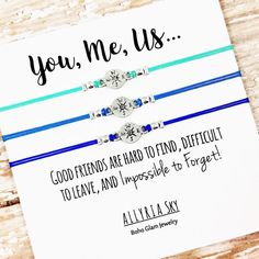 Set of Three Charm Friendship Bracelets with You Me by AllyriaSky