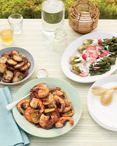 Nothing beats dining outdoors. Beat it out of your kitchen, and fire up the grill to create this scrumptious no-fuss feast.saladCharred-Romaine SaladmainGrilled Shrimp and Bacon with LemonssideCrisp Red Potatoes with Garlic-Herb OildessertPound Cake with Peaches and Creamserves 4