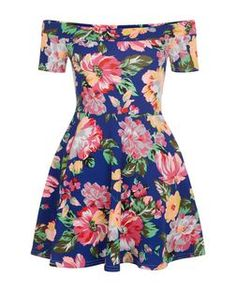 Teens Blue Floral Print Bardot Neck Skater Dress | New Look
