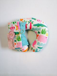 Jungle themed travel pillow with matching car seat strap covers