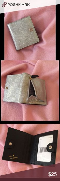 Kate Spade small wallet/card holder Kate Spade Mavis street silver sparkle & leather small wallet. kate spade Bags Wallets