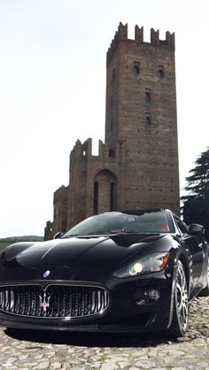 luxury car maserati gran turismo, black, supercar,