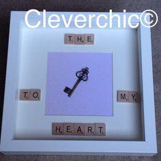 Scrabble Art Key to my Heart Frame Scrabble Frame by Cleverchic1